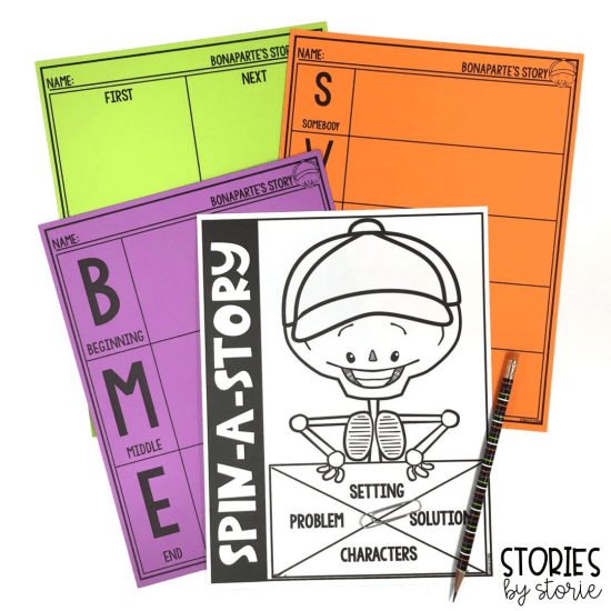 I added graphic organizers to help students work on summarizing and retelling Bonaparte Falls Apart. This spinner activity is great for working on story elements.