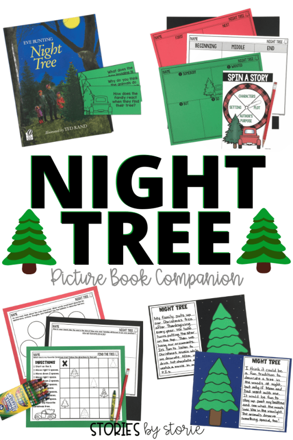 Night Tree by Eve Bunting tells a beautiful story about one family's yearly tradition to decorate a tree for the animals in the woods. This is a great book to add to your December read aloud collection. Here are some activities you can pair with this story.