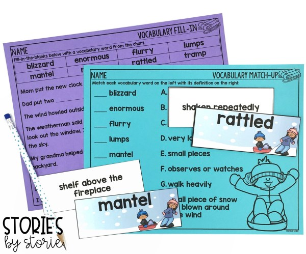 I selected 8 vocabulary words for The Snow Globe Family. Each vocabulary card has a matching definition. Students can play a memory matching game or use them in a pocket chart center. Then, students can work with their vocabulary words using this fill-in-the-blanks page and vocabulary match-up activity.