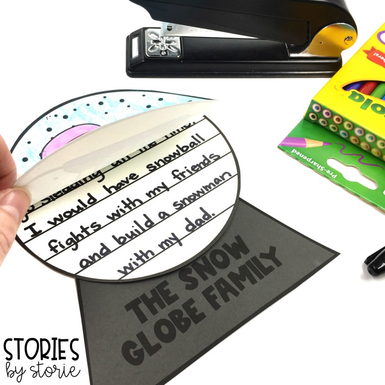 After reading The Snow Globe Family, students can respond to the story using these snow globe writing crafts.