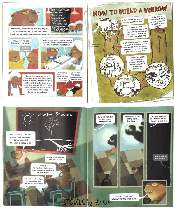 Groundhog Weather School combines an informational text with cartoon-like characters and speech bubbles. You will need to walk your students through how to approach the text on each page in order to take in all of the information. Take a peek at some of the pages.