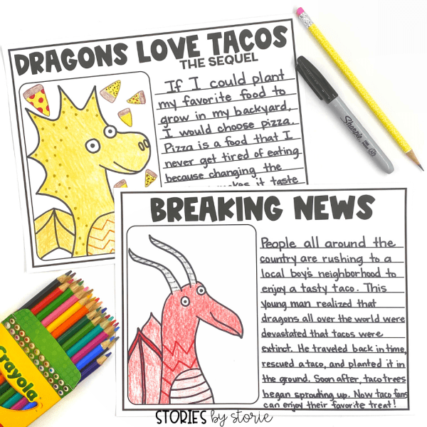 After reading Dragons Love Tacos 2: The Sequel, students can draw their own dragon using this directed drawing activity. There are two different styles of dragons. Students can add details and choose colors to make each dragon their own. I have also included some suggested writing prompts and writing template papers.