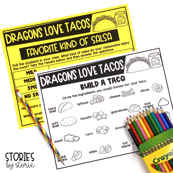 After reading Dragons Love Tacos, students can complete these book activities. This includes a favorite kinds of salsa graph and the chance for students to build the perfect taco.