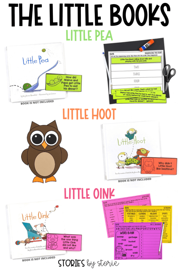 If you need some stories to engage and entertain your young readers, look for The Little Books by Amy Krouse Rosenthal. This trio includes Little Pea, Little Hoot, and Little Oink. These books put a fun spin on some common childhood predicaments that your students will enjoy! Keep reading to find some fun activities you can pair with each book.