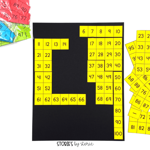 Once students have a good grasp on numbers to 100, putting puzzles together is a great activity. You can print puzzles on different colors of paper to keep them easily sorted.