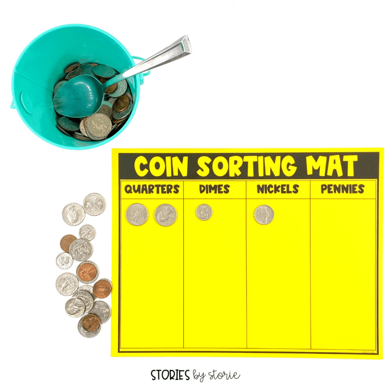 Use this coin sorting mat to help students scoop, sort, and count their coins. There are a few different ways your students can count the coins, depending on their level.