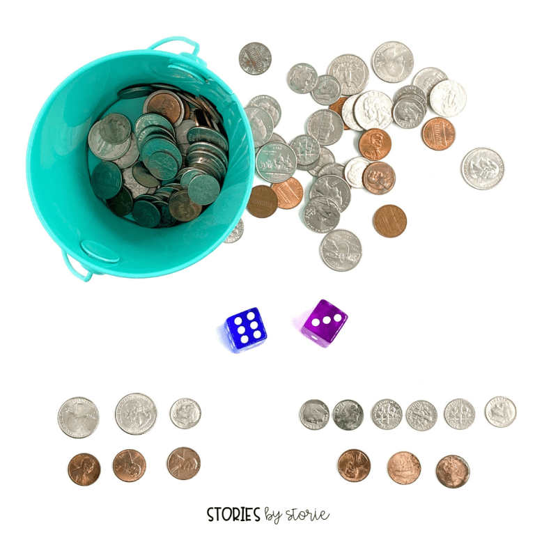 Roll and Build is a game where students roll two dice and build that amount using coins in two or more ways.