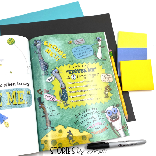 As you prepare for your read aloud, use sticky notes to identify new or unfamiliar vocabulary words or questions you want to ask. Mark the pages where you will stop for student predictions and places where students might turn and talk.