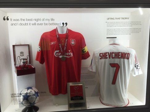Game worn jerseys, medal, and game ball from 2005 Champions League Final