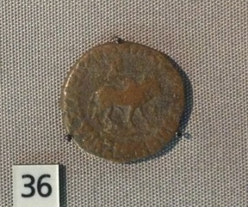 Copper coin from the reign of Azes II, an Indo-Scythian king, from India. c. 35 BC - AD 5