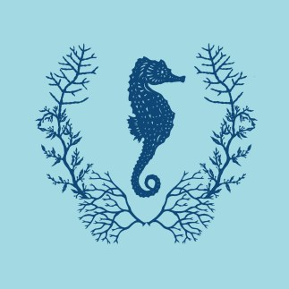 Seahorse Wreath, 2017. Digital collage from handmade papercuts.
