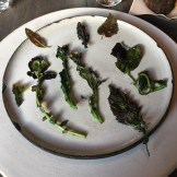 """Charred Greens with a Scallop Paste"""