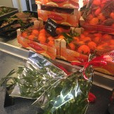 Christmas goods on sale at the canteen - I bought some clementines!