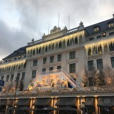 Hotel D'Angleterre's Christmas decoration in the late afternoon