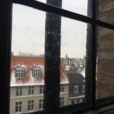 Historic glass graffiti inside the Round Tower