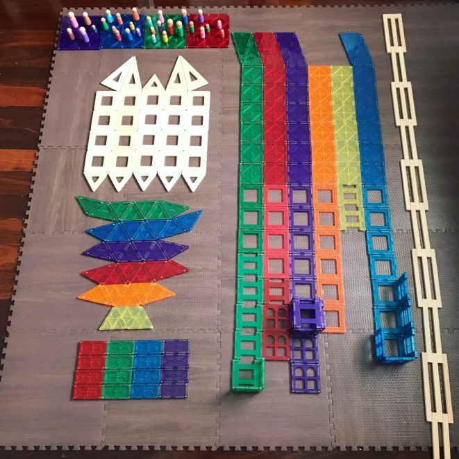 playing with magnetic tiles