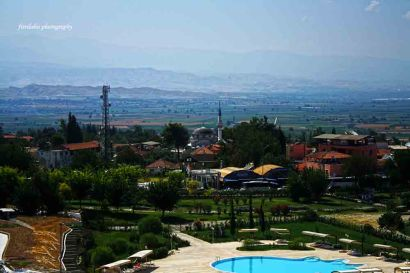 View of Pamukkale from Hierapolis