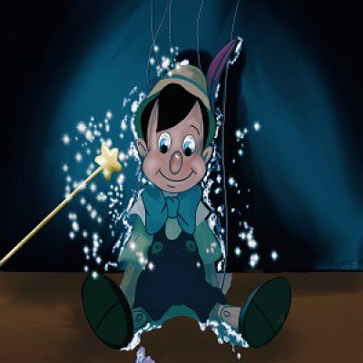 Pinocchio and the Blue Fairy Wand