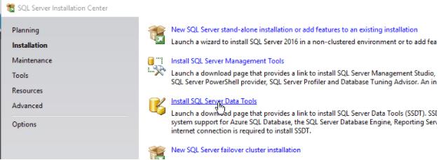 Install SQL Server Data Tools Link