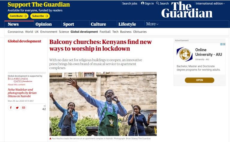 Balcony churches: Kenyans find new ways to worship in lockdown