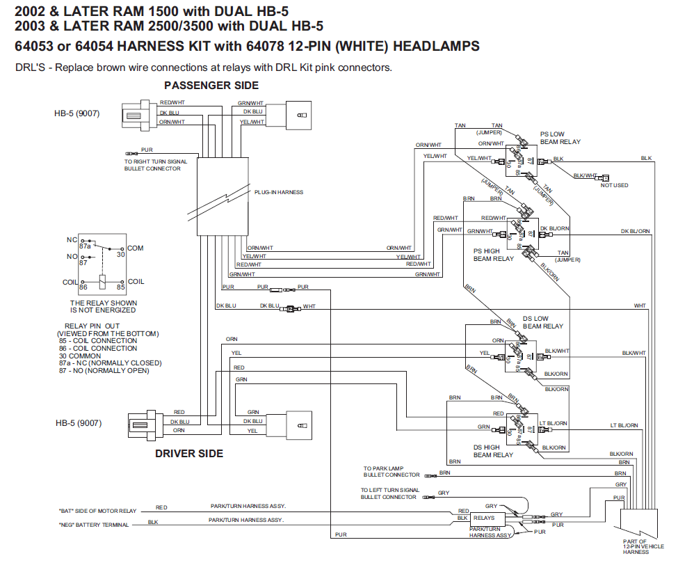 64053 Western / Fisher Unimount 02-06 Dodge HB-5 12 Pin
