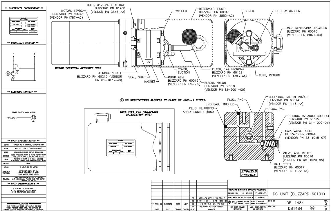 B60313 Blizzard Early 760LT-810 Power Plow Pressure Pump 9