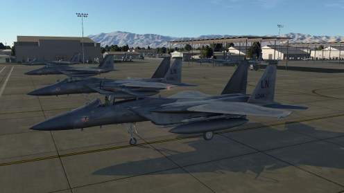 F-15C Eagles on the tarmac on the Nevada Test Range map. Source: DCS website