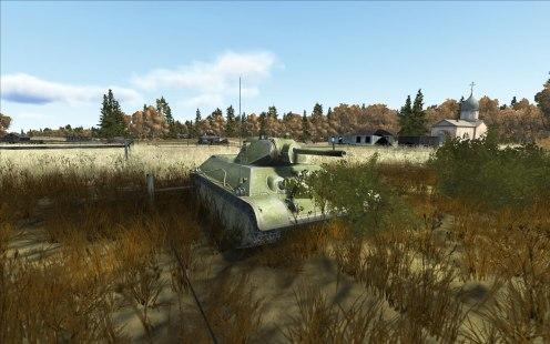 Russian T-34-76, 1942 model hiding in a village