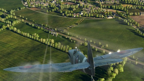 An earlier DCS screen shot showing the Spitfire IX over an early version of the Normandy map.