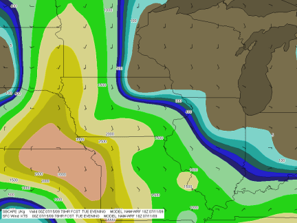SBCAPE in excess of 3,000 j/kg with nicely backed surface winds throughout much of region.