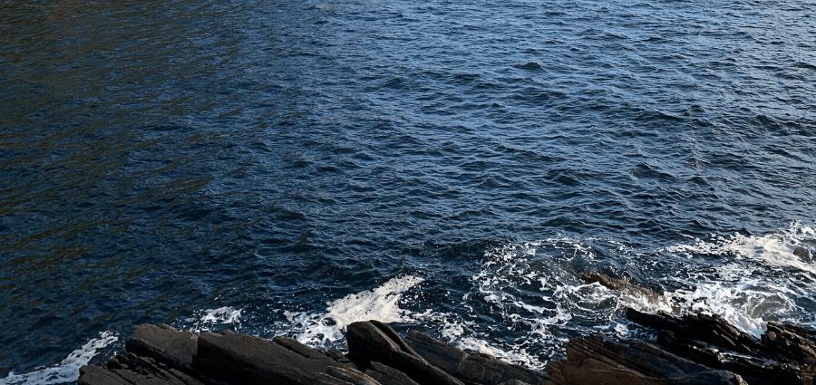 Blue ocean and rocks.