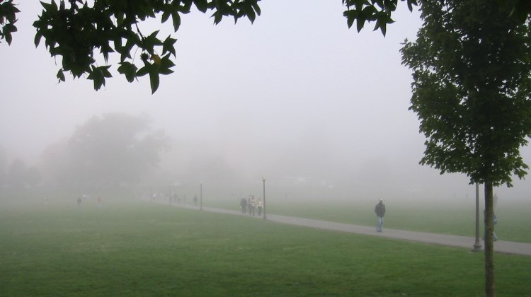 Foggy morning on the Virginia Tech university campus in Blacksburg, Virginia
