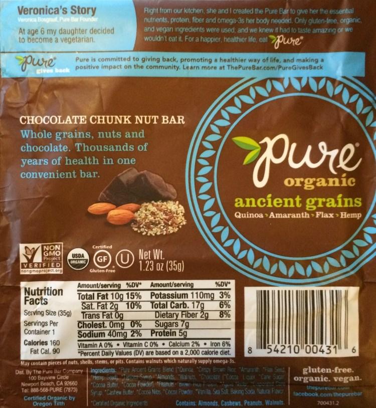 pure ancient grains chocolate chunk nut bar