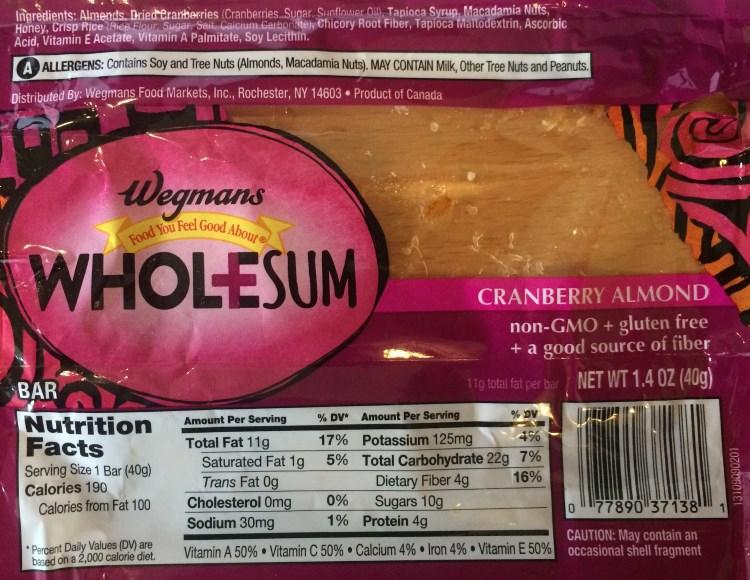 wegmans wholesum cranberry almond