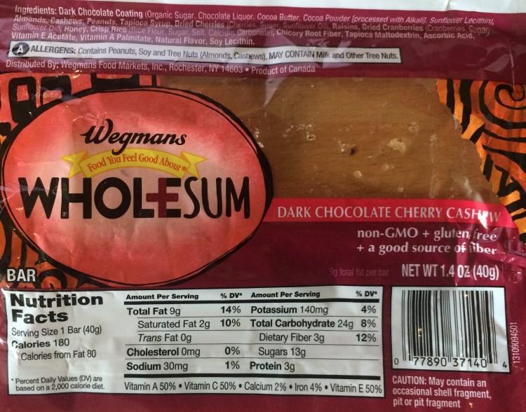 wegmans wholesum dark chocolate cherry cashew