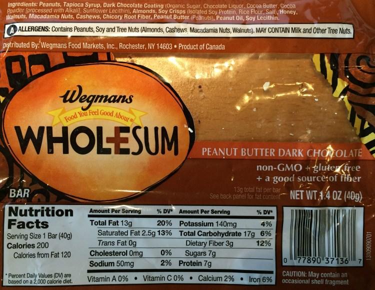 wegmans wholesum peanut butter dark chocolate