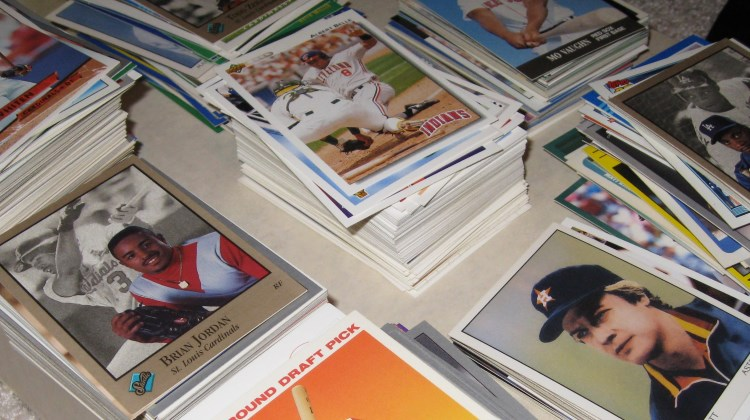 piles of baseball cards