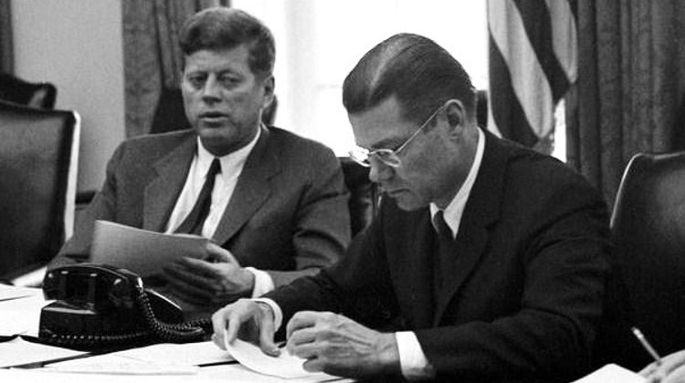 President Kennedy and Secretary of Defense McNamara in an EXCOMM meeting (from Wikipedia)