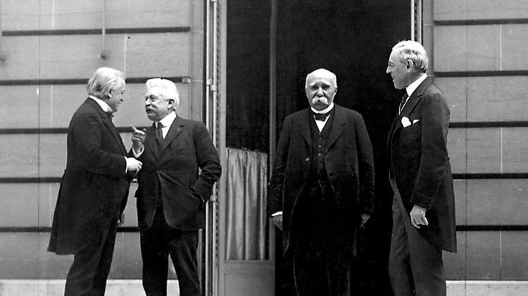 Council of Four at the WWI Paris peace conference, May 27, 1919 (candid photo) (L - R) Prime Minister David Lloyd George (Great Britian) Premier Vittorio Orlando, Italy, French Premier Georges Clemenceau, President Woodrow Wilson (from Wikipedia)