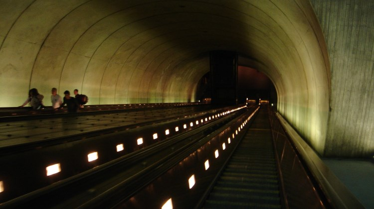 The escalators at Rosslyn Metro Station, Washington, D.C. Take the stairs or escalator? Once you commit, you can't easily go back