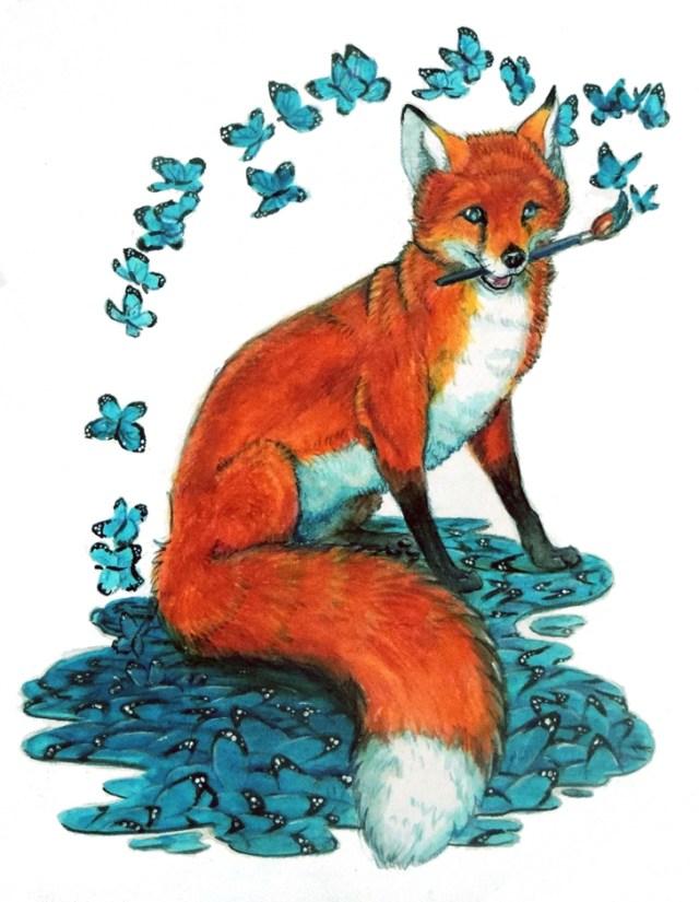 surrealist fox with butterflies