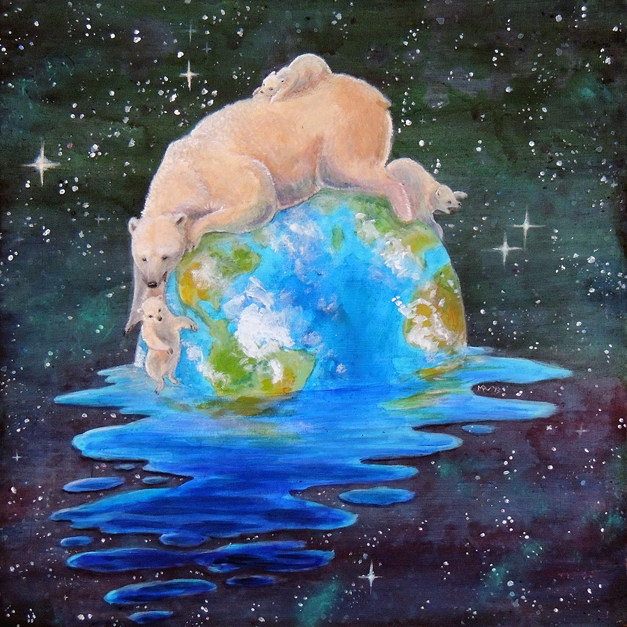 Acrylic Painting of a polar bear mother holding cub and three other babies on a surreal melting world about global warming