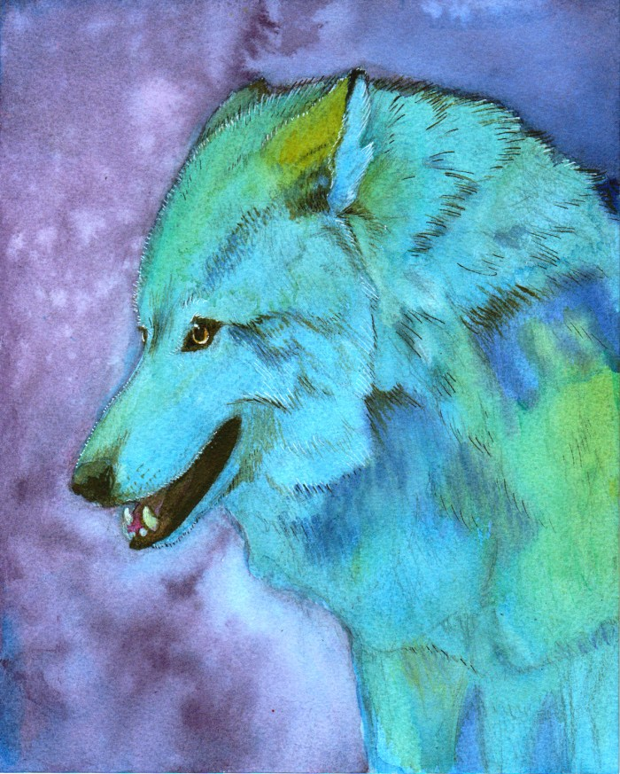 A psychedelic mexican wolf in multicolor hues