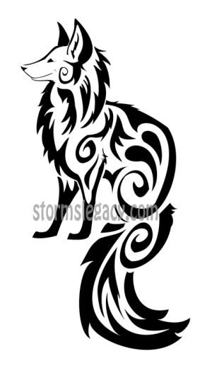 Blackwork Fox Tattoo Design