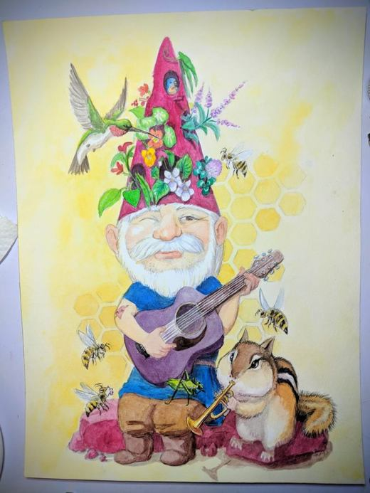 watercolor garden gnome painting