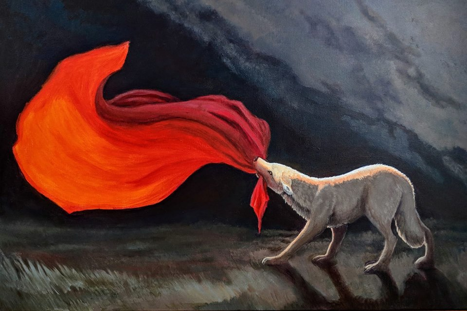 acrylic painting of a white wolf holding a red banner
