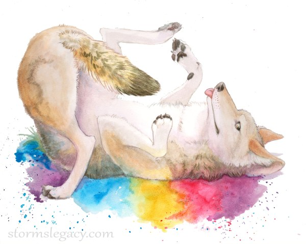 a cute watercolor painting of a coyote rolling in rainbow abstract colors
