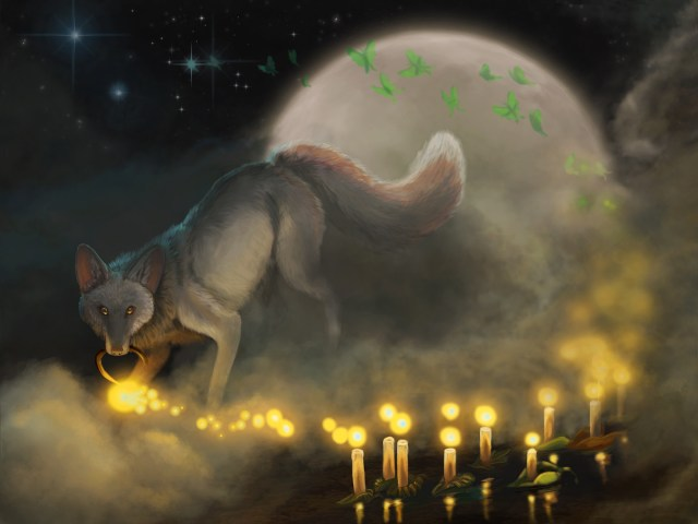 a dark illustration of a fox carries a lantern that spills glowing souls into a river of candles with lunamoths and the moon