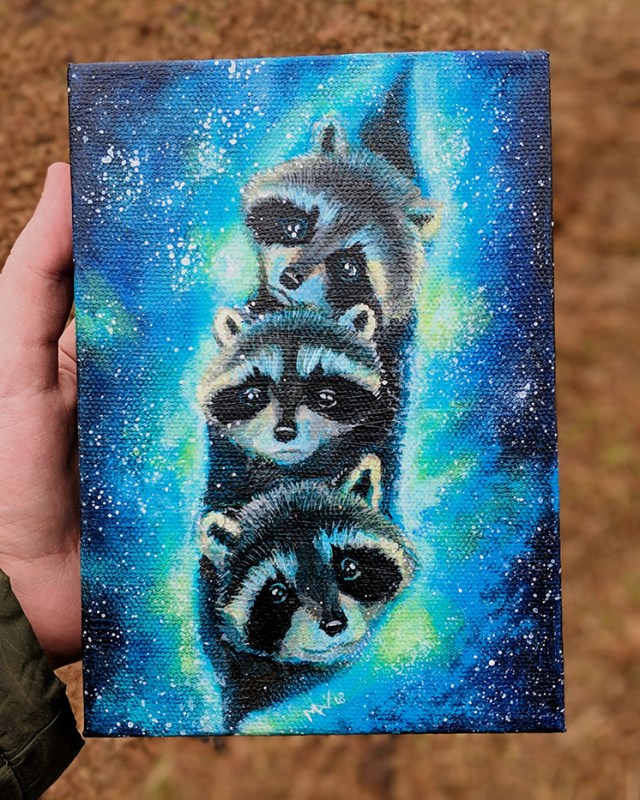 fantasy animal acrylic painting of three baby raccoons wrapped in a galaxy