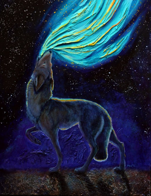 acrylic painting of coyote howling colors